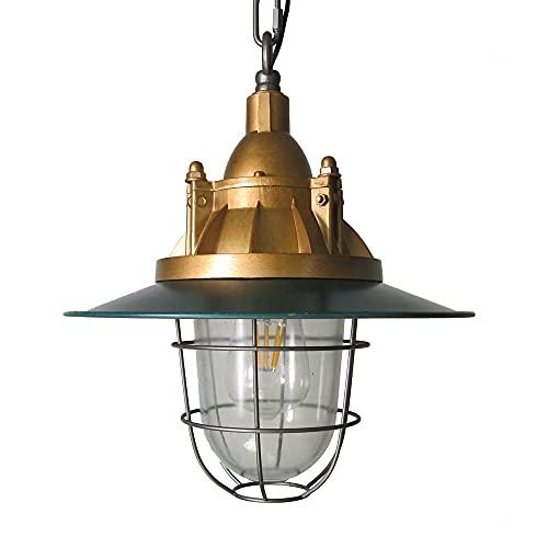 NAMFHZW Lámpara Colgante de Techo de Vidrio Industrial Vintage Lámpara Colgante con Acabado de Metal Dorado Verde E27 1 luz Lámpara Colgante Semi empotrada Conjunto Ajustable en Altura Luminaria Sala