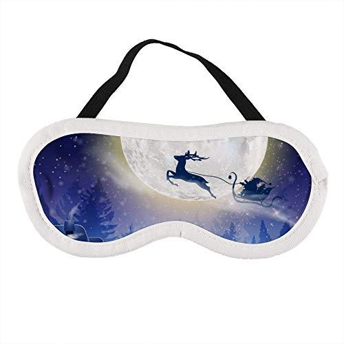 Draagbaar oogmasker voor mannen en vrouwen, Kerstman vliegt met herten op een slee voor Kerstmis De beste slaapmasker voor reizen, dutje, geven u de beste slaapomgeving