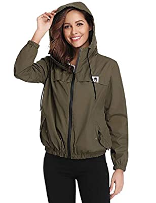 Abollria Women Rain Jacket Waterproof with Hood Lightweight Active Outdoor Windbreaker Raincoats