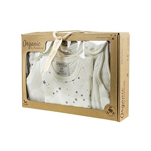 Puckdaddy Organic Schlafset Lia mit Sterne Muster in Weiß/Grau – Baby Geschenk-Set zur Geburt, 100% Baumwolle, hochwertig & pflegeleicht