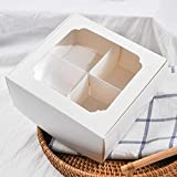 20 Pack White Bakery Boxes with Window and Dividers | 6x6x2.4 Inches | Four Compartment Treat Boxes...