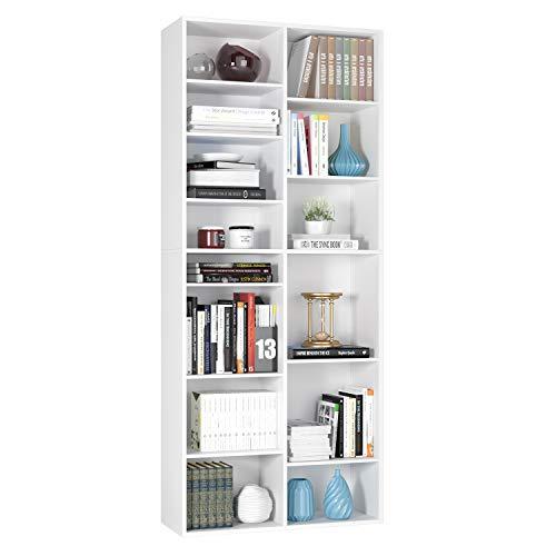 Homfa Estantería para CDs y DVDs Librería Estantería Librería de Pared Ajustable para Libros con 18 Cubos Blanco 80x30x190cm