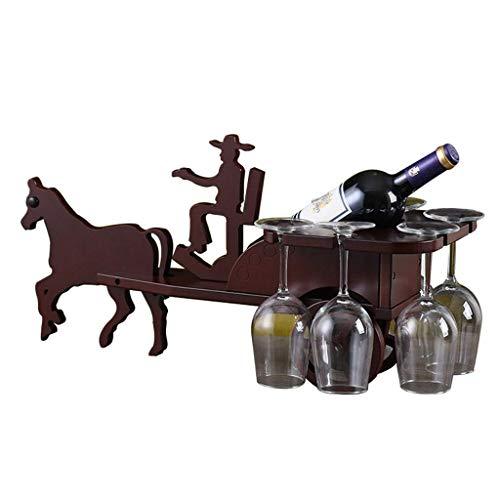 BGHDIDDDDD Novedad Estante para Vino Estantes para Vino Estante Organizador de Vino Estante para Botellas Estante para Vino Portavasos Pequeño Portavasos de Madera Iza Porta Botellas de Vino Creativa