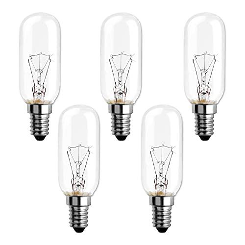Lampadina Cappa Cucina 40W E14, 2700K Bianco Caldo Dimmerabile, T25 Lampada ad incandescenza Tubolare per cappa aspirante, lampada da soffitto, lampadario in cucina, lampada da parete, 5 Pezzi