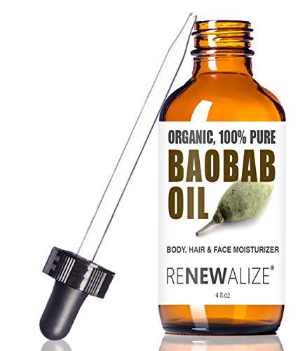 Renewalize Certified Organic Baobab Oil | 100 Percent Pure Cold Pressed and Unrefined | All Natural Skin Nails and Hair Moisturizer | 4 fl oz
