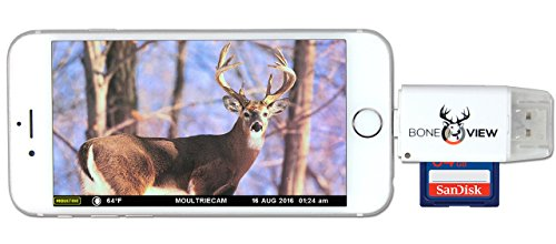 BoneView SD MicroSD Card Reader for Apple iOS, Trail Cam Viewer Plays Deer Hunting Game Camera...