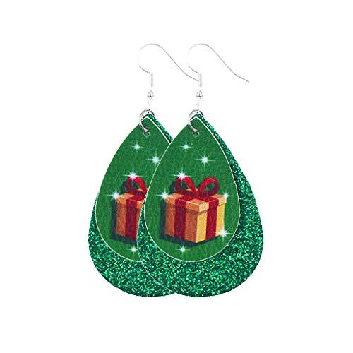 HEling Pendientes de piel con diseño de gota de agua para Navidad, pendientes de gota de té, pendientes largos de gancho, pendientes bohemios vintage