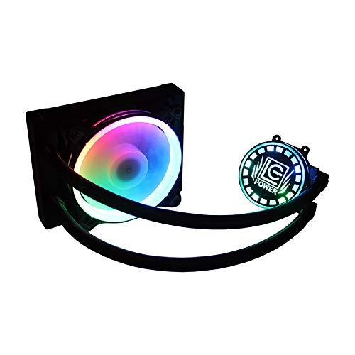 LC-Power Digitaler RGB-Flüssig-CPU-Kühler - Micro-Finnen, 120-mm-Lüfter, TDP 180 W, Kupferbasis, Starke Wärmeableitung, ausgewogener AMD- und Intel-CPU-Kühler, CPU-Kühler LC-CC-120-LiCo-ARGB