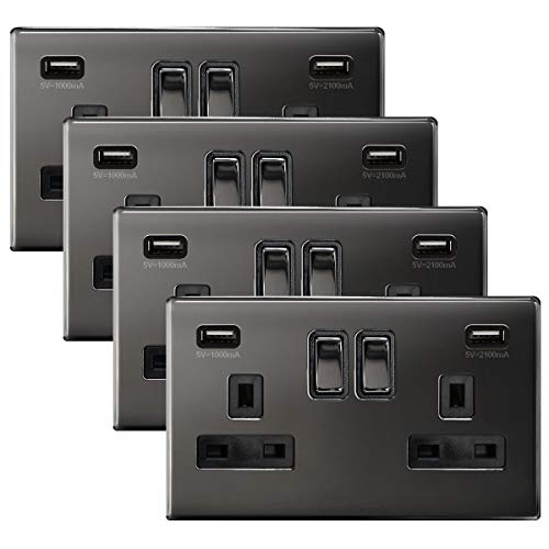 4 x Black Nickel USB Double Wall Plug Socket 2 Gang 13A with 2 USB Charger Port Outlets Socket Plate N776GME