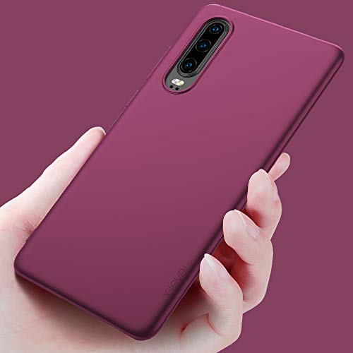 Huawei P30 Hülle, [Guardian Serie] Soft Flex Silikon Premium TPU Echtes Telefongefühl Handyhülle Schutzhülle Kompatibel mit Huawei P30 6,1 Zoll Case Cover – Weinrot - 4