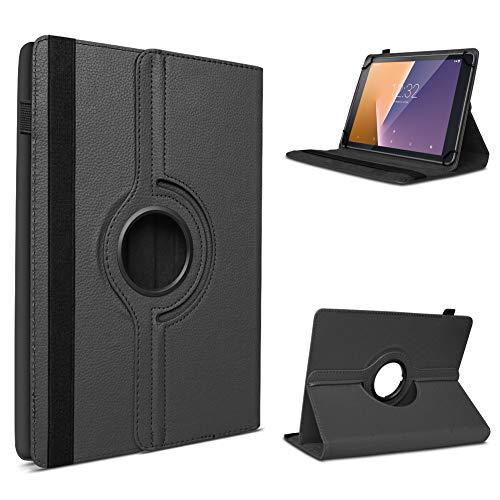 UC-Express Tablet Hülle kompatibel für Vodafone Tab Prime 6/7 Schutzhülle aus Kunstleder Tasche mit Standfunktion 360° drehbar Universal Cover Case, Farben:Schwarz