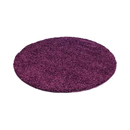 Carpet city ayshaggy Shaggy Teppich Hochflor Langflor Einfarbig Uni Lila Weich Flauschig Wohnzimmer, Größe: 200 x 200 cm Rund, 200 cm x 200 cm