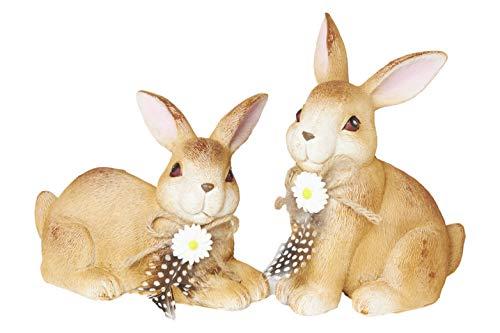 HEITMANN DECO Keramik Hasen - Dekofiguren mit Schleifen und Blumen - Osterhase, Osterdeko, Frühlingsdeko - 2er Set, groß - Braun