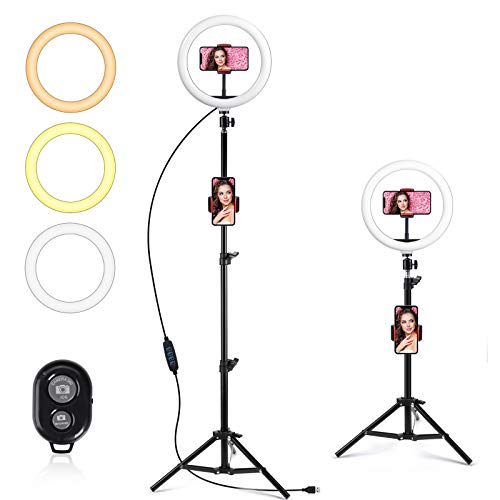 """10"""" LED Ring Light with Tripod Stand, GIM Dimmable Ring Light Kit with Adjustable Tripod Stand 3 Color Modes and 10 Brightness, USB Powered Video Light for Youtube, Photography, Live Streaming, Tiktok"""