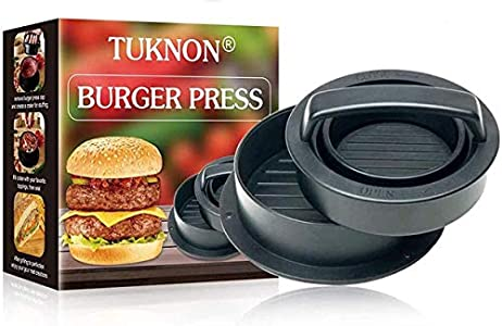 TUKNON Burger Press, Prensa de Hamburguesa rellena, Molde Hamburguesas, Antiadherente 3 en 1 Molde Hamburguesas Cocina Artesanal para Hamburguesas Caseras, Barbacoa, Salchichas, Ideal para Barbacoa