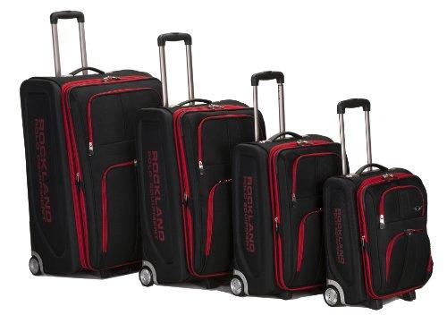 Rockland Polo Equipment Varsity Softside Upright Luggage Set, Black