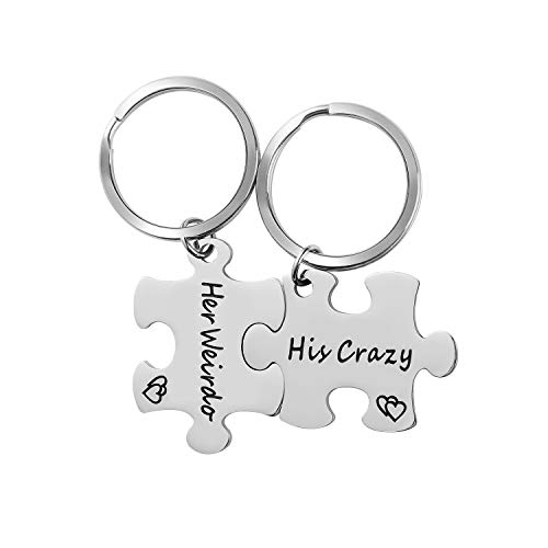 WIGERLON Couples Keychains For Boyfriend and Girlfriend(husband and wife) 2 Matching puzzle pieces Engraved:His Crazy Her Weirdo- Great Gifts for Him and Her on Valentine's Day and Birthday
