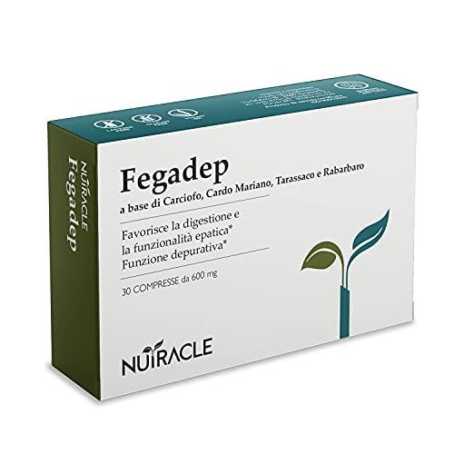 Nutracle Fegadep 30 compresse 600 mg - Per Depurare e Disintossicare il Fegato - Integratore Forte con Cardo Mariano, Carciofo, Tarassaco e Rabarbaro - Drenante Diuretico Detox