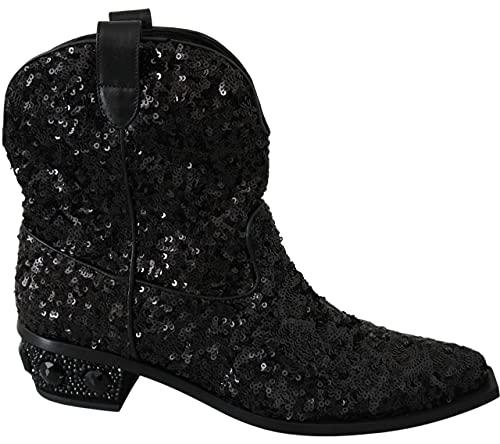 Dolce & Gabbana Black Sequined Boots Cowboy Shoes Size 6.5 US