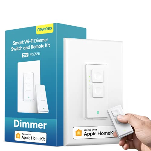 meross Smart Dimmer Switch with Remote Supports Apple HomeKit, Single Pole, Neutral Wire Required, 2.4GHz Wi-Fi, Works with Alexa, Hey Google and SmartThings, Remote and Voice Control, No Hub Required