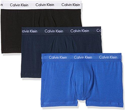 Calvin Klein 3P Lr Trunk 0000U2664G, Boxer Uomo, Multicolor (C-Black/Blu/Blu), Large, Pacco da 3