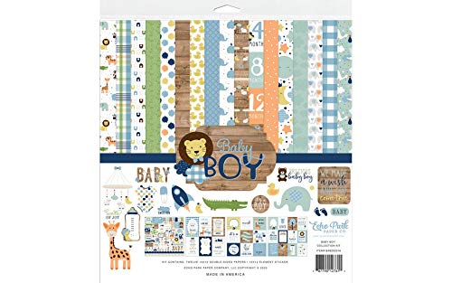 Echo Park Paper Company Baby Boy Collection Kit paper, blue, green, mint, yellow