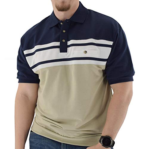 Classics by Palmland Horizontal French Terry Short Sleeve Banded Bottom Shirt Navy - Big and Tall (2XLT, Navy)