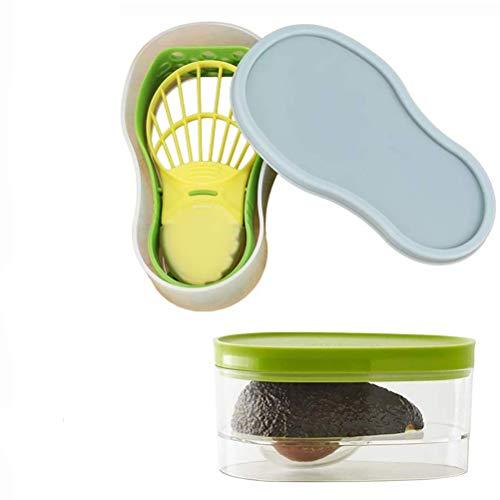 Venhoy Avocado Werkzeug Avocado-Schneider Avocado-Behälter Aufbewahrungsbehälter Sicherheitsmesser Strunkentferner Samenentferner