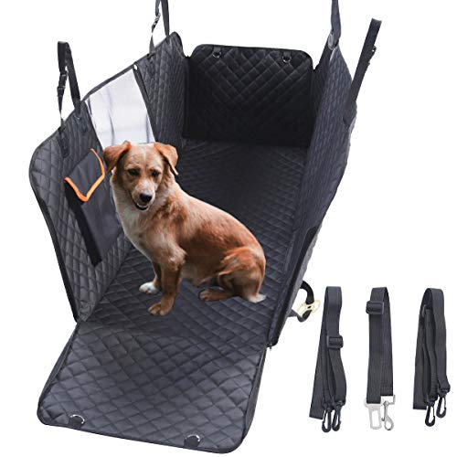 GoBuyer Dog Car Seat Cover Protector Liner for Car Boot and Back Rear Seat - Waterproof & Non-slip (Hammock) SeatBelt Strap