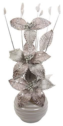 Flourish Hogar-Flores Artificiales Decoracion Jarrones, Plata/Gris, 32cm
