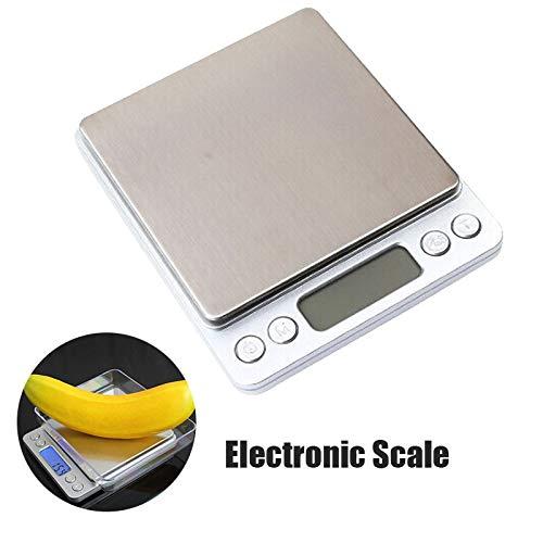 Digitale keukenweegschaal, digitale weegschaal, professionele weegschaal, elektronische weegschaal, keukenweegschaal, brievenweegschaal, maximaal gewicht 2000 g zilver