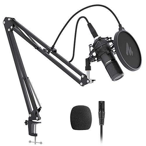 XLR Condenser Microphone Kit MAONO AU-PM320S Professional Cardioid Vocal Studio Recording Mic for Streaming, Voice Over, Vocal, Home-Studio