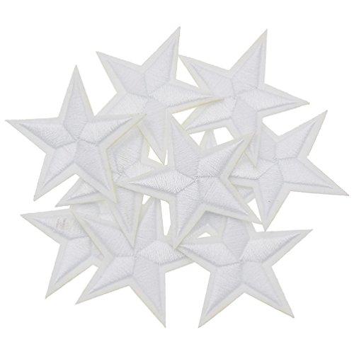 YNuth 10pcs DIY Parche Termoadhesivo Bordado del Diseño de Estrella para Decoración de Ropas Color Blanco
