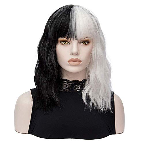 Morticia Shoulder Length Short Curly Women Full Bang Heat Resistant Fiber Girls Replacement Bob Wig (White and Black)