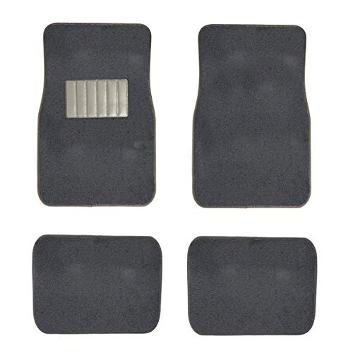 New Carpet Car Floor Mats 4 Pc Set for Cars Trucks SUVS with Heel Pad -Front and Rear Mats Universal Classic Matching Heel Pad (Charcoal)