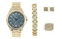Bling'ed Out Presidential Ice on Fire メンズ腕時計 ドリピンセット – ローリーリンクブレスレットにダイヤモンドラインストーン、パヴェイヤリングとメンズブリングリング – ST10330セット(9、ゴールドブルー)