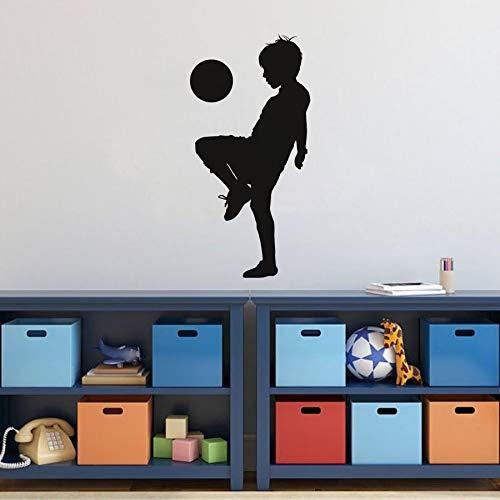 Tianpengyuanshuai Kinder Spielen Fußball Silhouette Sportdekoration Aufkleber Wandaufkleber Kinderzimmer Vinyl Wandtattoo 28X57cm
