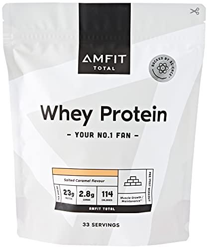 Marca Amazon - Amfit Nutrition Proteína de Suero Lácteo, Sabor Caramelo y Sal, 1kg