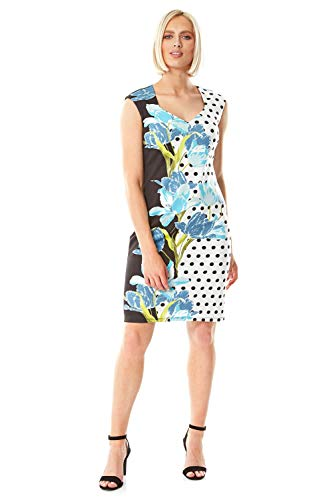 Roman Originals Scuba-jurk voor dames met hartvormige uitsnijding en bloemenpatroon, getailleerde jurken, A-lijn, bruiloften, formele gelegenheden, zomer, feestjes, stippels
