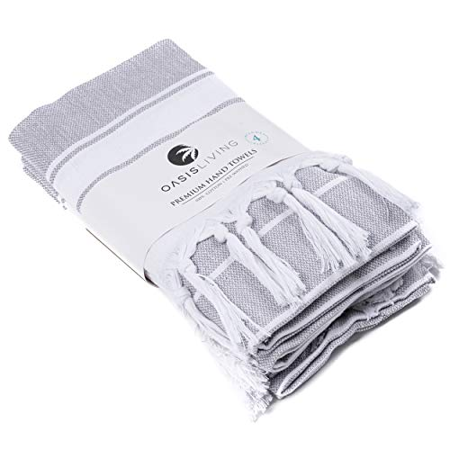 Oasis Living Turkish Style Hand Towel 100% Cotton | Set of 4 | Premium Towels for Kitchen, Bathroom, Gym, Face | Tea and Dishcloth (Grey)