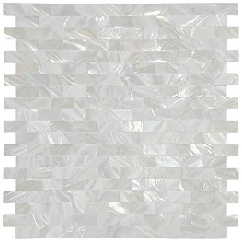 "Art3d Mother of Pearl Shell Mosaic Tile for Kitchen Backsplash, 12""x12"" (10 Tiles)"
