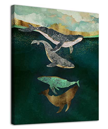 arteWOODS Abstract Fish Wall Art Whale Canvas Picture for Bathroom Bedroom Wall Decor Green Watercolor Painting Prints Modern Canvas Art for Home Decoration 12' x 16'