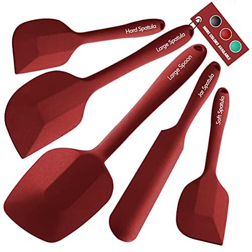 Wanbasion - Rosso Set di 5 spatole in Silicone 315℃ Resistenti al Calore, Set di Utensili da Cucina in Silicone, spatole in Gomma per pentole antiaderenti, per Cottura e