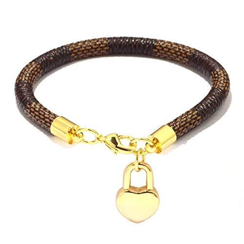 XUEKE Charmsmic - Pulseras y brazaletes para mujer, color marrón, negro y blanco, cuero de serpiente, cadena de metal, pulseras colgantes CB159-marrón