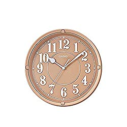Casio Iq-62-5 Wall Clock with 10 Inches Thinline Quartz Light Brown Dial Battery Included