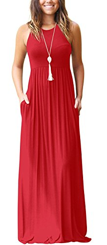 GRECERELLE Women's Casual Long Maxi Dresses with Sleeveless Red X-Large