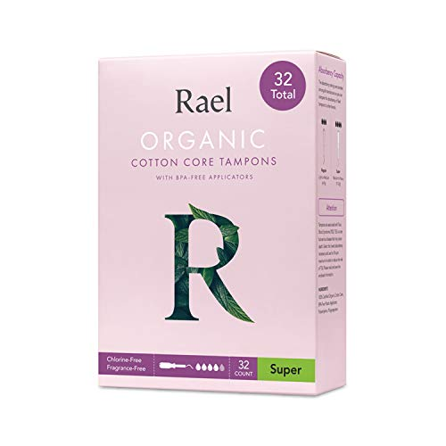 Rael Organic Cotton Unscented Tampons  Super Absorbency BPA Free Plastic Applicator Chlorine Free Ultra Thin Applicator with Leak Locker Technology 32 Count Super