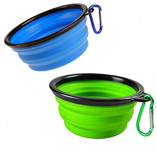 2-Pack Large Size Portable Collapsible Pet Silicone Dog Bowl,Food Grade Silicone BPA Free and Dishwasher Safe,Matched Carabiner Clips Dog/Cat Bowl, for Journeys/Hiking/Kennels and Camping large