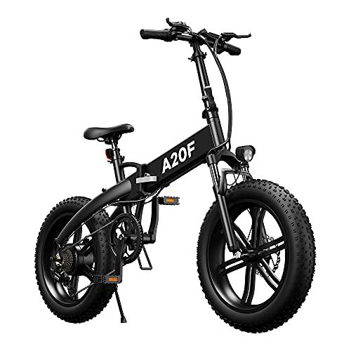 ADO A20F E-Bike Klapprad Für Herren Damen, 20 * 4,0 Zoll Faltbares Elektrofahrrad 500W Citybike Elektrisches Fahrrad mit Herausnehmbarer 36V 10.4Ah Batterie, 25-40 km/h Ebike (schwarz, 20 * 4,0 Zol)