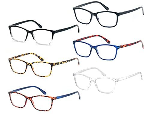 CAWINT 6 Stück,Lesebrille Rechteckig Herren Damen,Gute Brillen,Komfortabel,Klassiker,Mischfarbe,Arbeitsplatzbrille